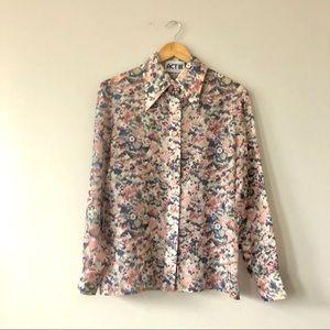Vintage floral union made wide lapel blouse top